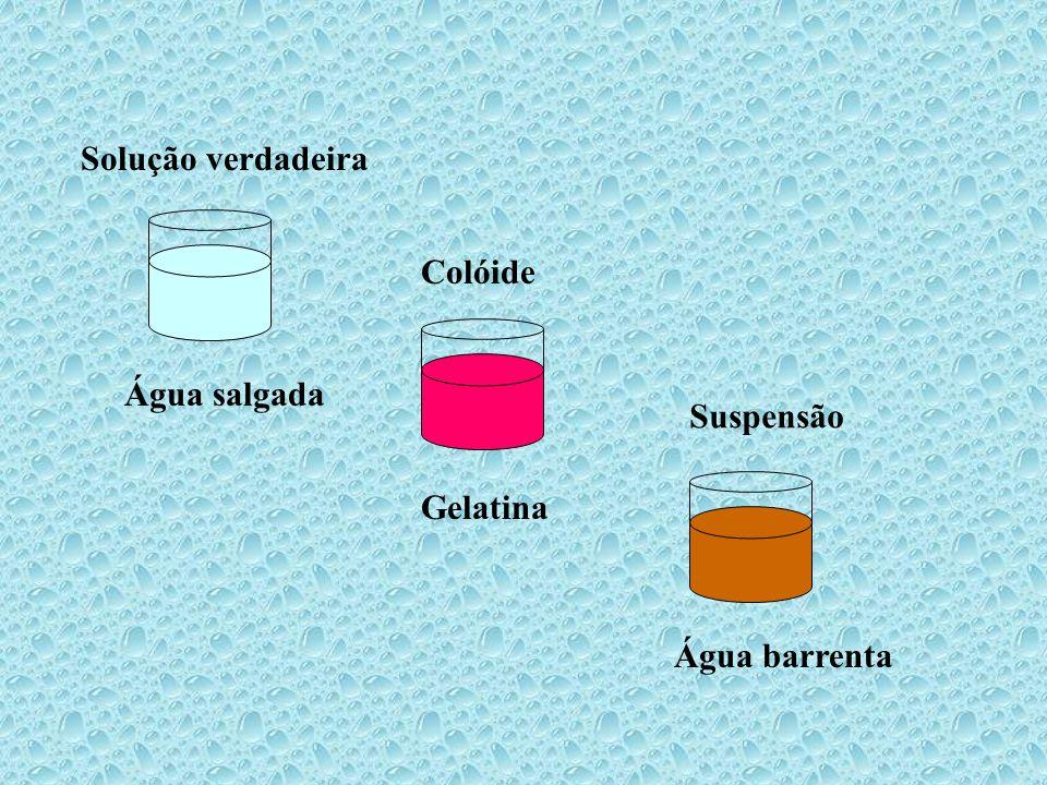 Solução verdadeira Colóide Água salgada Suspensão Gelatina Água barrenta
