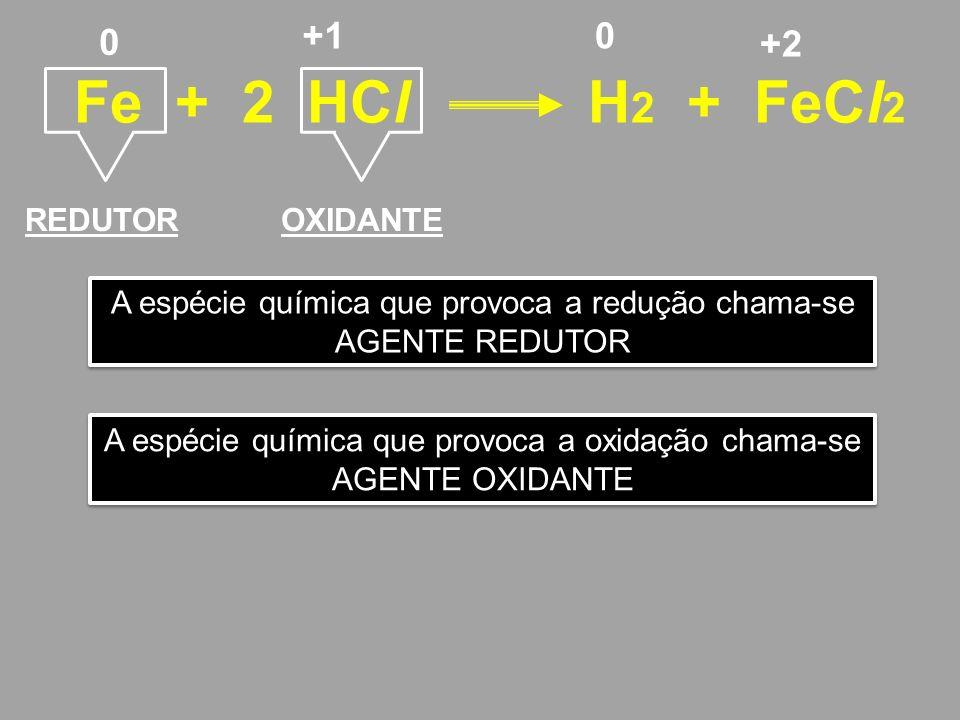 Fe + 2 HCl H2 + FeCl2 +1 +2 REDUTOR OXIDANTE