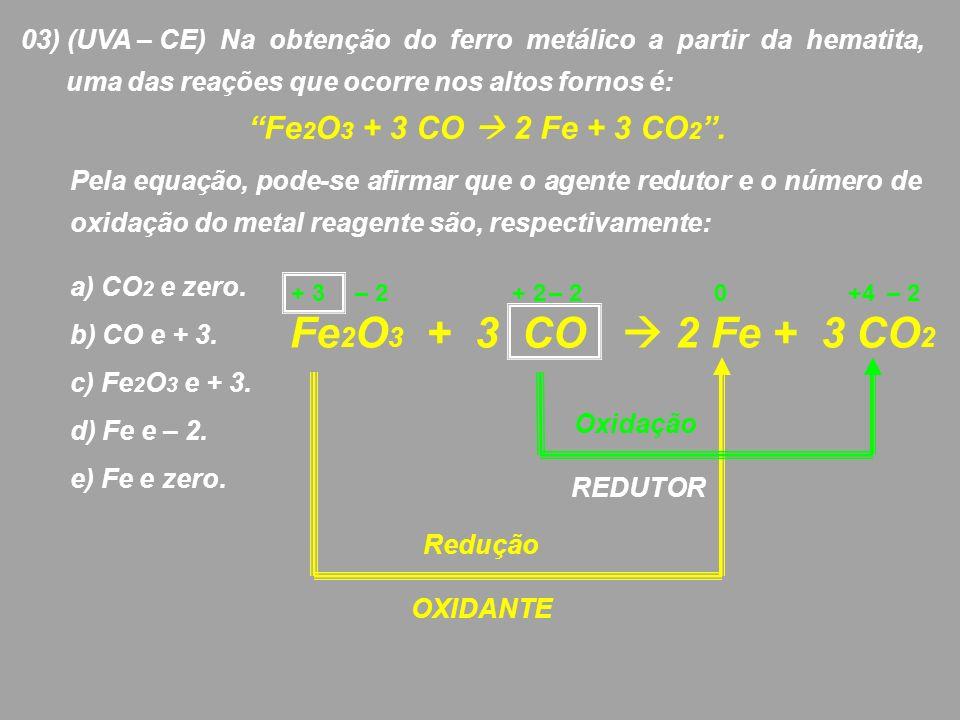 03) (UVA – CE) Na obtenção do ferro metálico a partir da hematita,