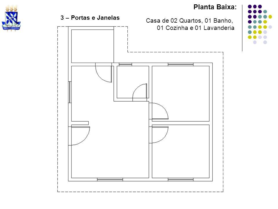 Planta Baixa: 3 – Portas e Janelas Casa de 02 Quartos, 01 Banho,