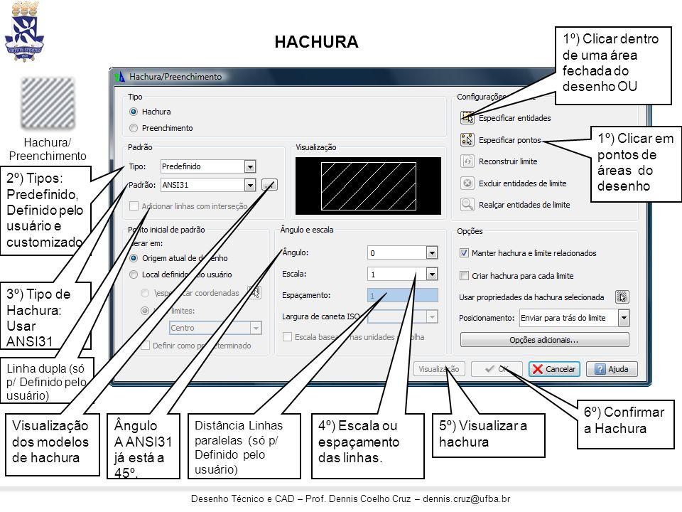 HACHURA 1º) Clicar dentro de uma área fechada do desenho OU