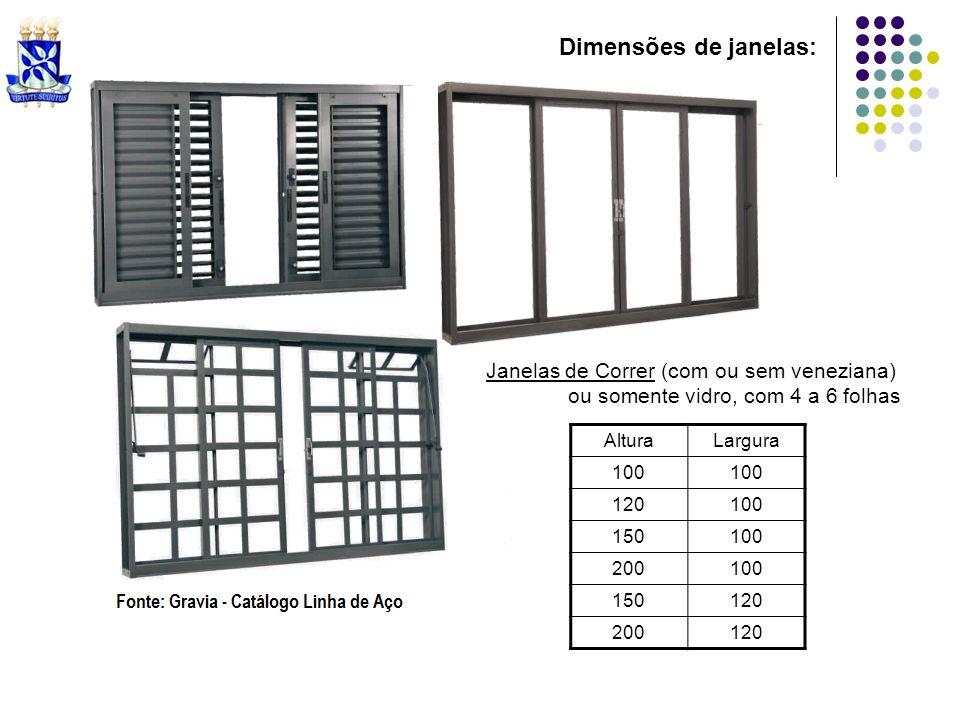 Dimensões de janelas: Janelas de Correr (com ou sem veneziana)