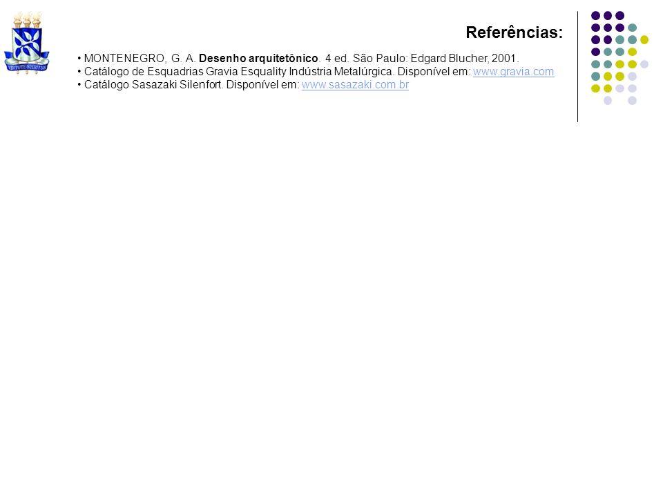 Referências: MONTENEGRO, G. A. Desenho arquitetônico. 4 ed. São Paulo: Edgard Blucher, 2001.