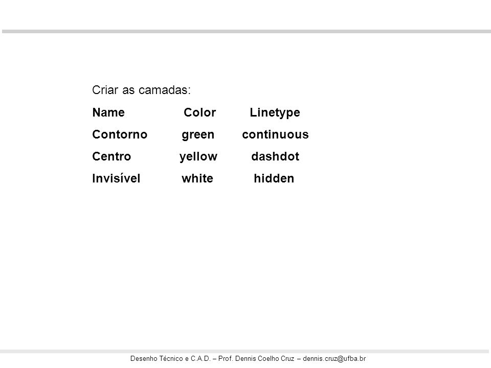 Criar as camadas: Name Color Linetype. Contorno green continuous.