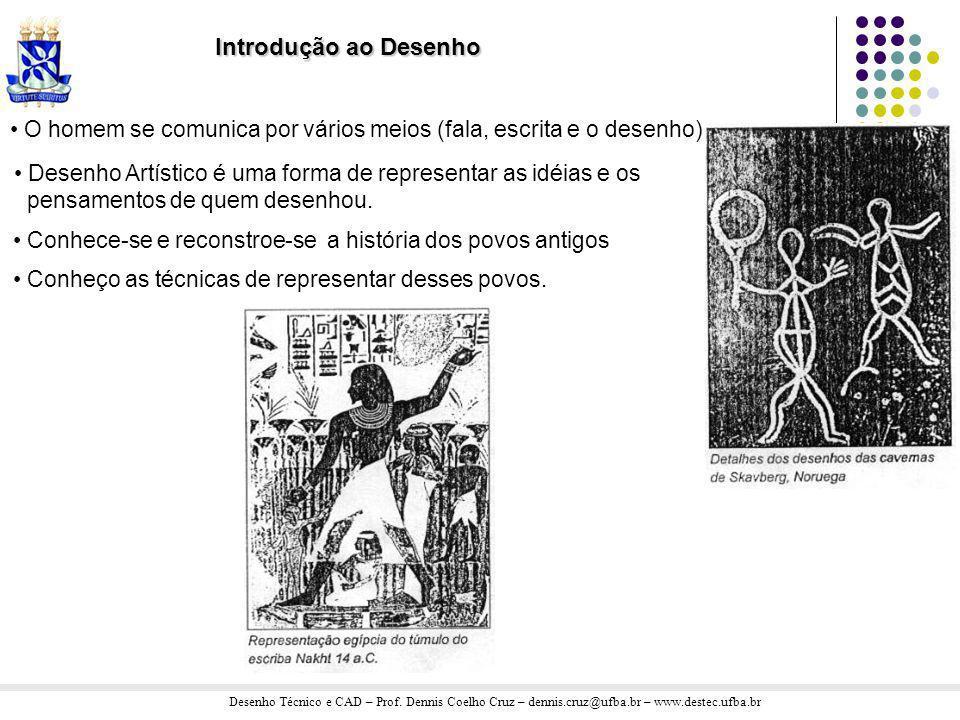 Introdução ao Desenho O homem se comunica por vários meios (fala, escrita e o desenho) Desenho Artístico é uma forma de representar as idéias e os.