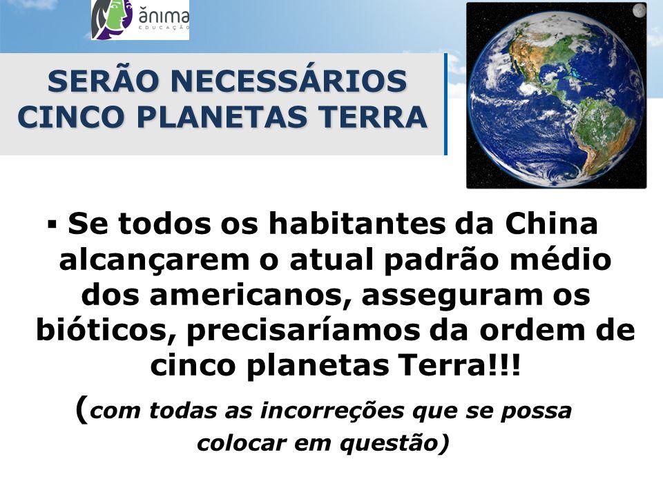 SERÃO NECESSÁRIOS CINCO PLANETAS TERRA