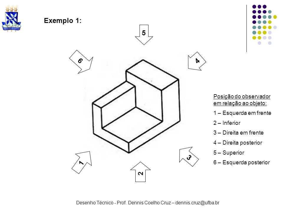 Exemplo 1: 5 6 4 3 1 2 Posição do observador em relação ao objeto:
