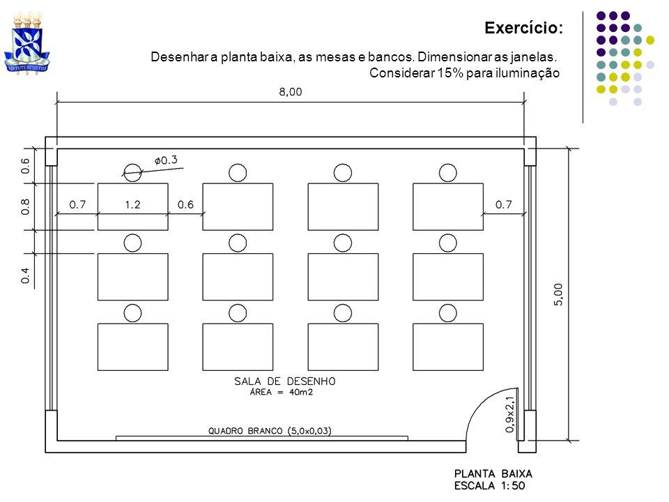 Exercício: Desenhar a planta baixa, as mesas e bancos.