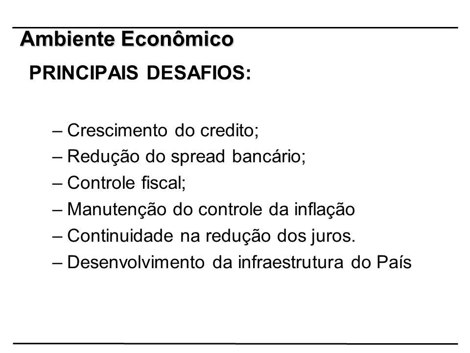 Ambiente Econômico PRINCIPAIS DESAFIOS: Crescimento do credito;