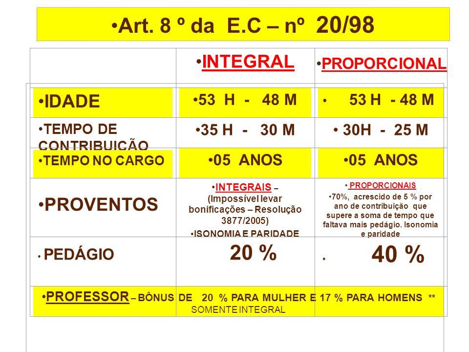 INTEGRAIS – (Impossível levar bonificações – Resolução 3877/2005)