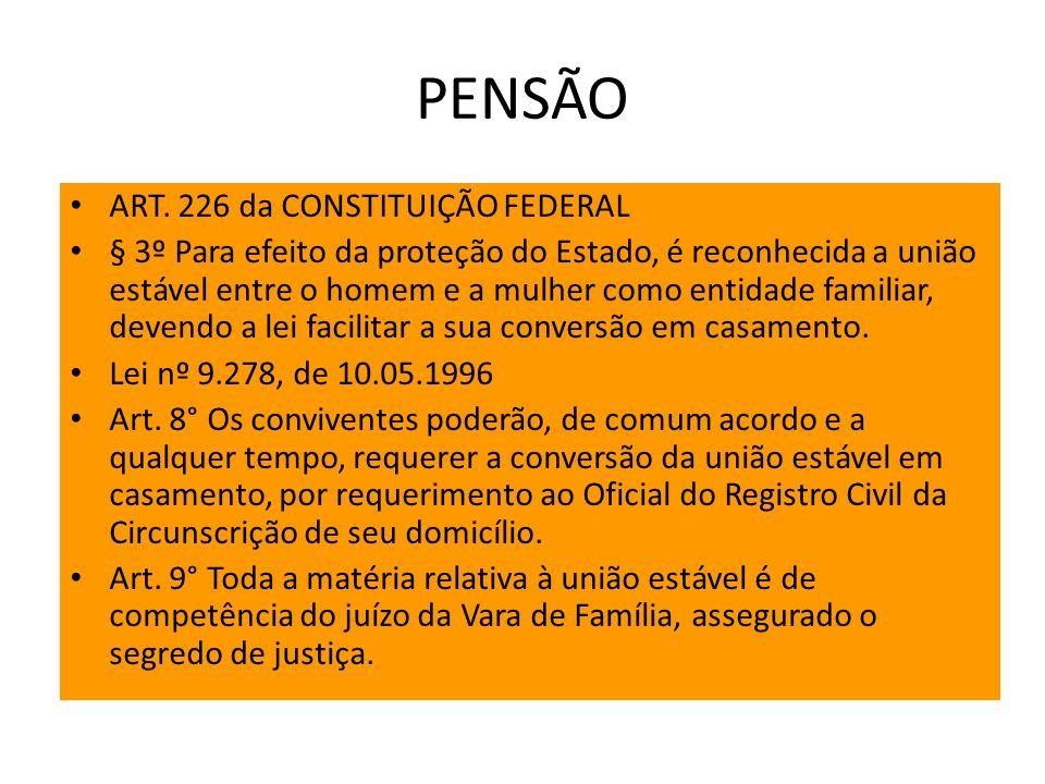 PENSÃO ART. 226 da CONSTITUIÇÃO FEDERAL