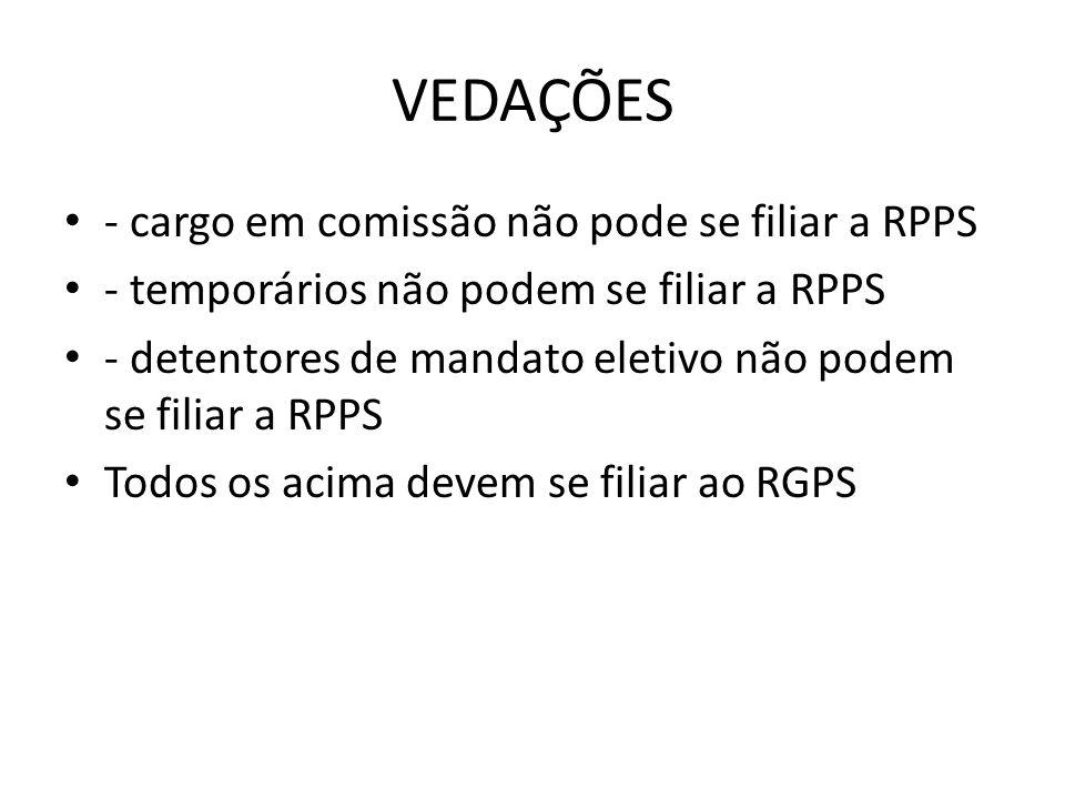VEDAÇÕES - cargo em comissão não pode se filiar a RPPS