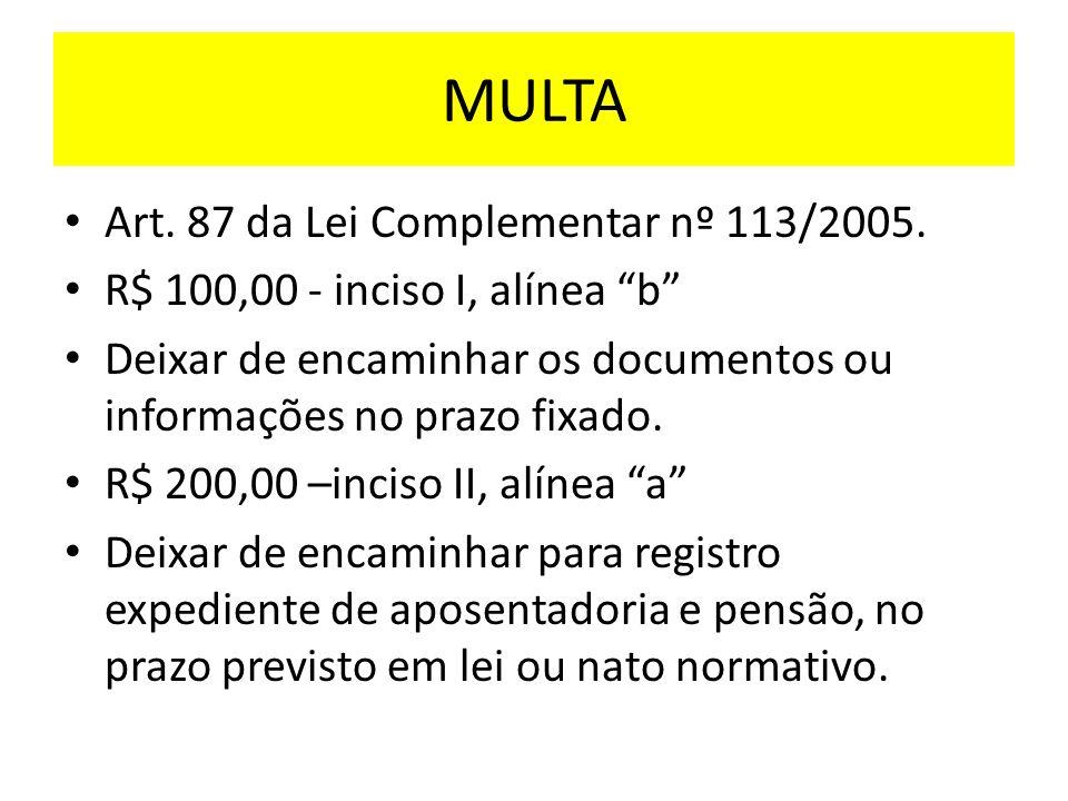 MULTA Art. 87 da Lei Complementar nº 113/2005.