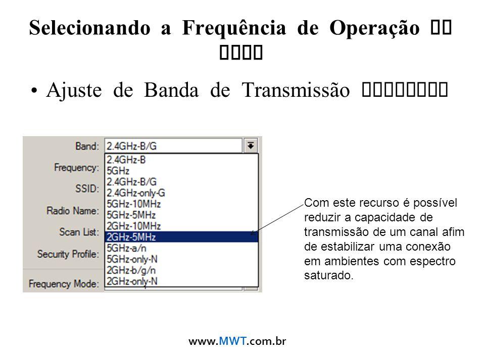 Selecionando a Frequência de Operação da Rede