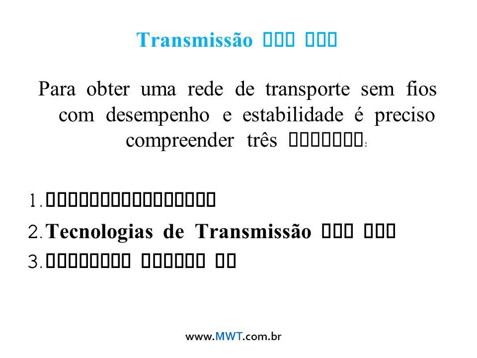 Transmissão Sem Fio Para obter uma rede de transporte sem fios com desempenho e estabilidade é preciso compreender três teorias: