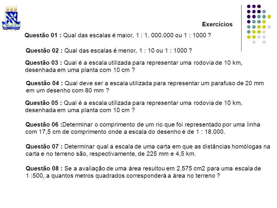 Exercícios Questão 01 : Qual das escalas é maior, 1 : 1. 000.000 ou 1 : 1000 Questão 02 : Qual das escalas é menor, 1 : 10 ou 1 : 1000