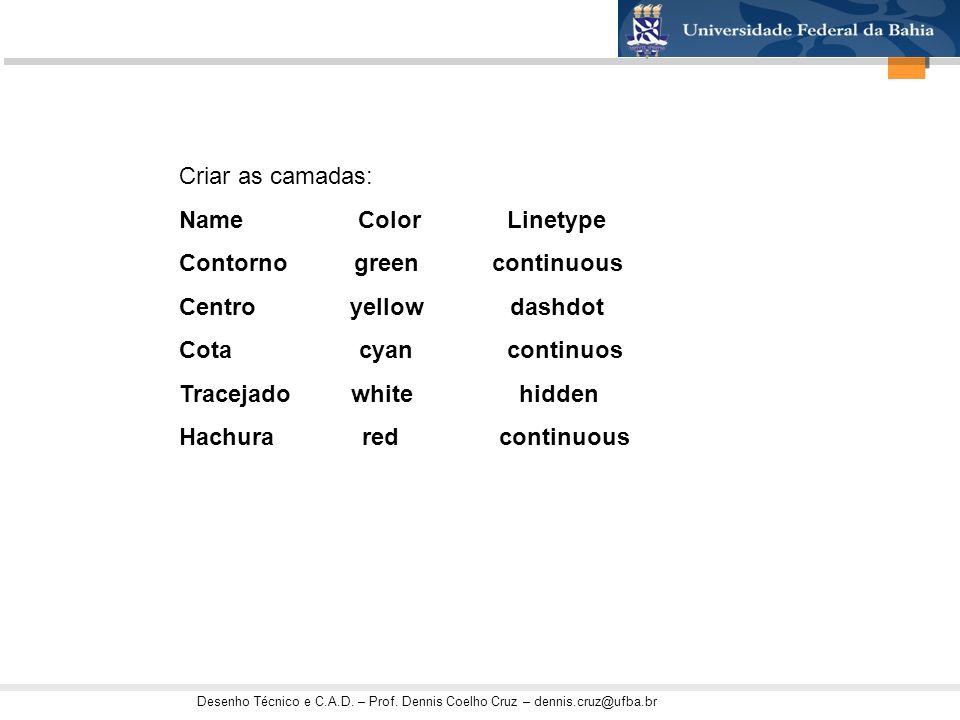 Criar as camadas: Name Color Linetype. Contorno green continuous.