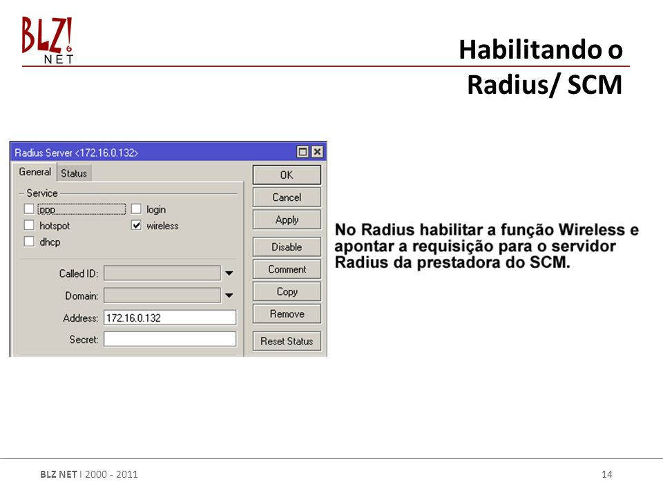 Habilitando o Radius/ SCM
