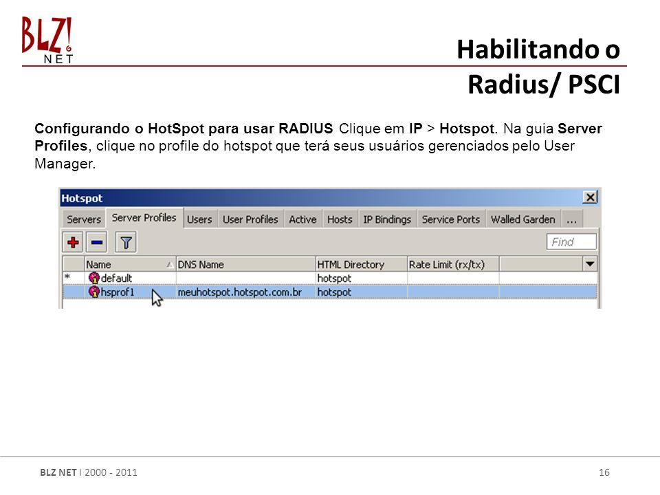 Habilitando o Radius/ PSCI