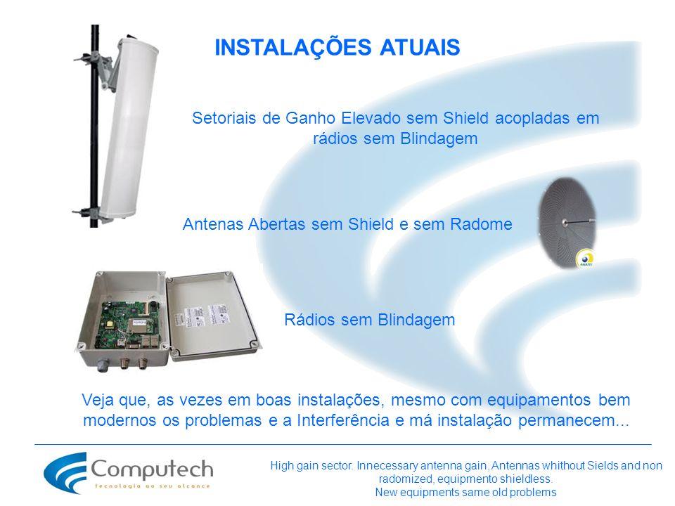 INSTALAÇÕES ATUAIS Setoriais de Ganho Elevado sem Shield acopladas em rádios sem Blindagem. Antenas Abertas sem Shield e sem Radome.