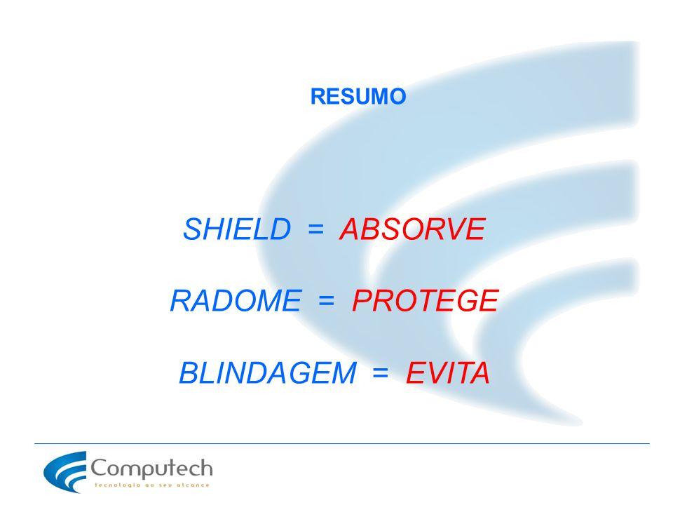 RESUMO SHIELD = ABSORVE RADOME = PROTEGE BLINDAGEM = EVITA