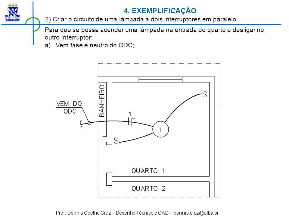 4. EXEMPLIFICAÇÃO 2) Criar o circuito de uma lâmpada a dois interruptores em paralelo.