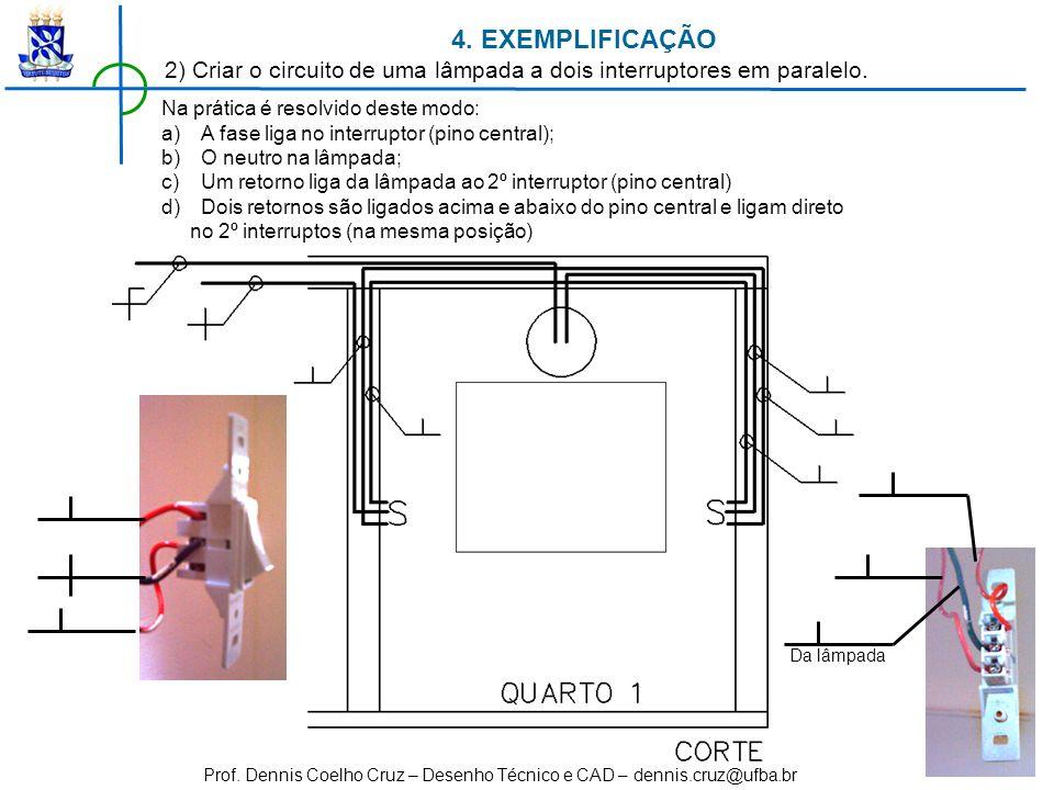 4. EXEMPLIFICAÇÃO 2) Criar o circuito de uma lâmpada a dois interruptores em paralelo. Na prática é resolvido deste modo: