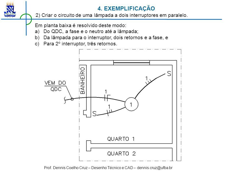 4. EXEMPLIFICAÇÃO 2) Criar o circuito de uma lâmpada a dois interruptores em paralelo. Em planta baixa é resolvido deste modo: