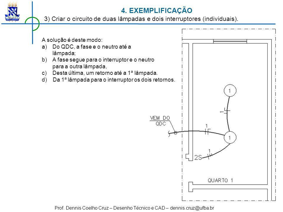 4. EXEMPLIFICAÇÃO 3) Criar o circuito de duas lâmpadas e dois interruptores (individuais). A solução é deste modo: