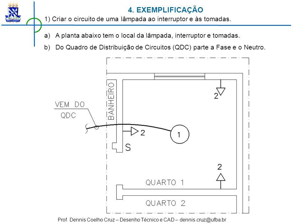 4. EXEMPLIFICAÇÃO 1) Criar o circuito de uma lâmpada ao interruptor e às tomadas. A planta abaixo tem o local da lâmpada, interruptor e tomadas.