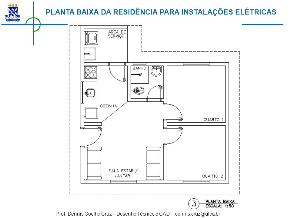 PLANTA BAIXA DA RESIDÊNCIA PARA INSTALAÇÕES ELÉTRICAS