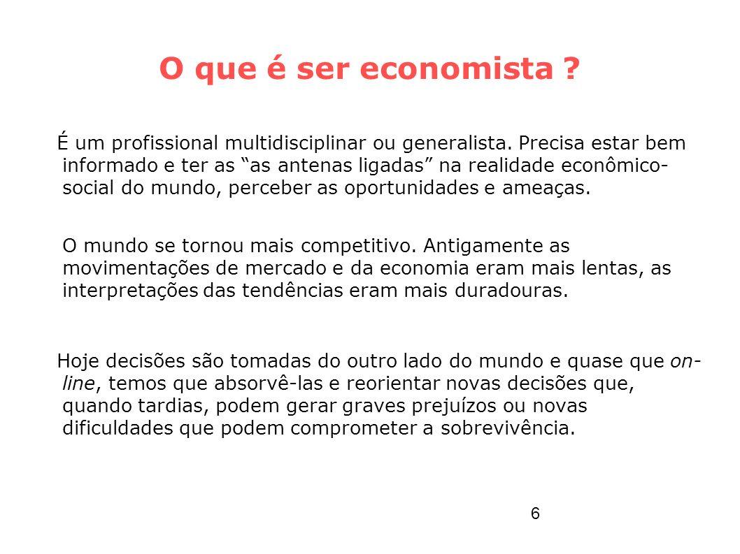 O que é ser economista