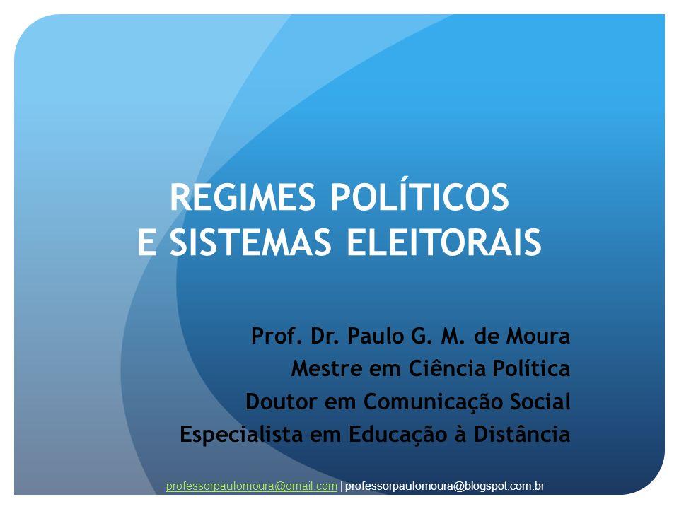REGIMES POLÍTICOS E SISTEMAS ELEITORAIS