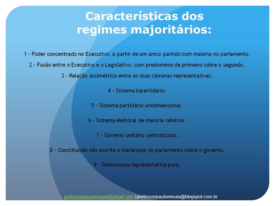 Características dos regimes majoritários: