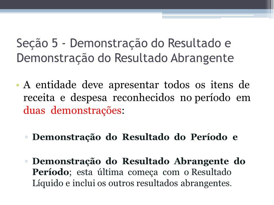 Seção 5 - Demonstração do Resultado e Demonstração do Resultado Abrangente