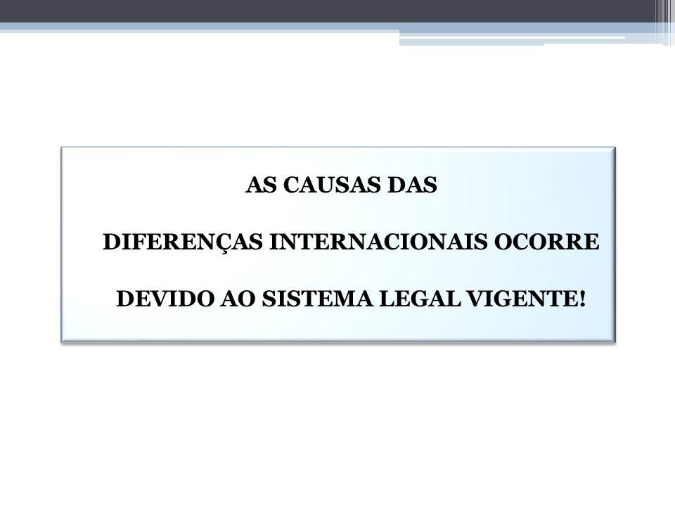 AS CAUSAS DAS DIFERENÇAS INTERNACIONAIS OCORRE DEVIDO AO SISTEMA LEGAL VIGENTE!
