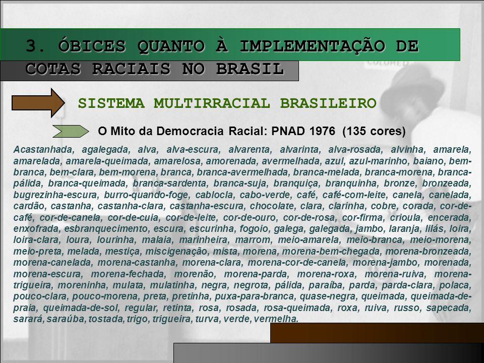 3. ÓBICES QUANTO À IMPLEMENTAÇÃO DE COTAS RACIAIS NO BRASIL