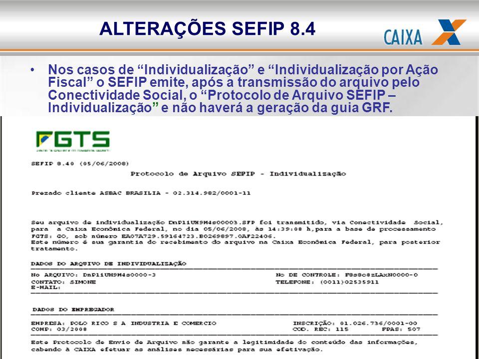 ALTERAÇÕES SEFIP 8.4