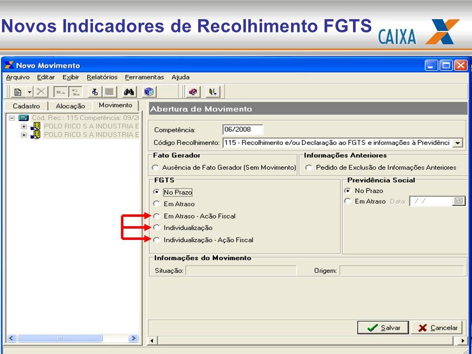 Novos Indicadores de Recolhimento FGTS