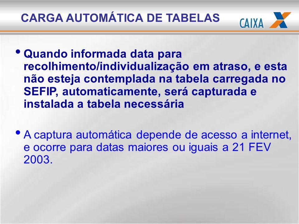 CARGA AUTOMÁTICA DE TABELAS