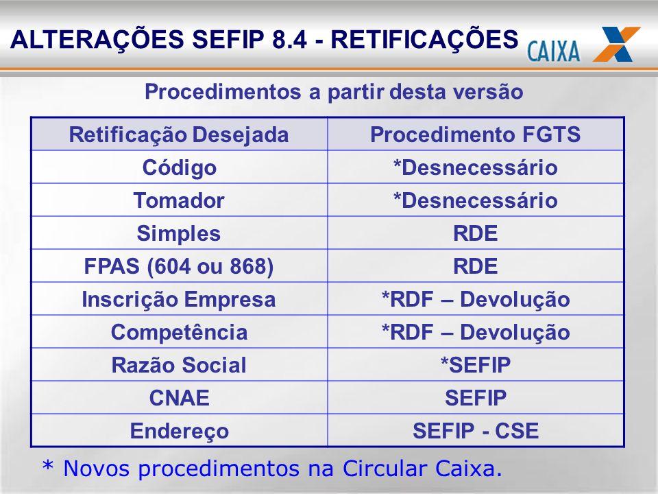 ALTERAÇÕES SEFIP 8.4 - RETIFICAÇÕES