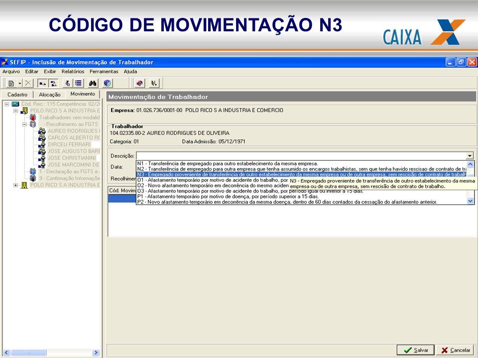 CÓDIGO DE MOVIMENTAÇÃO N3