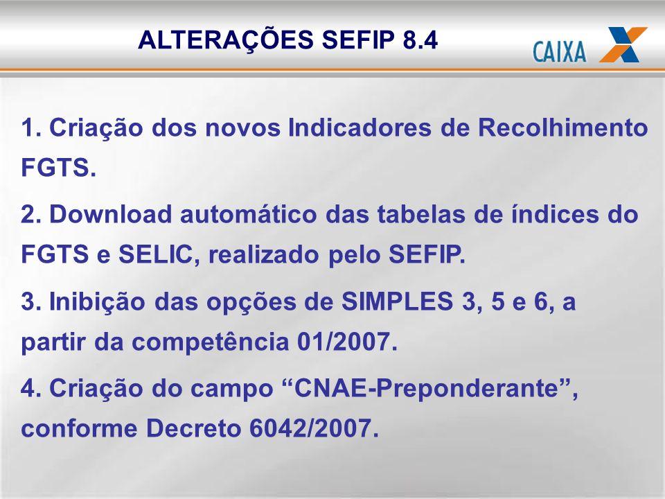 ALTERAÇÕES SEFIP 8.4 1. Criação dos novos Indicadores de Recolhimento FGTS.
