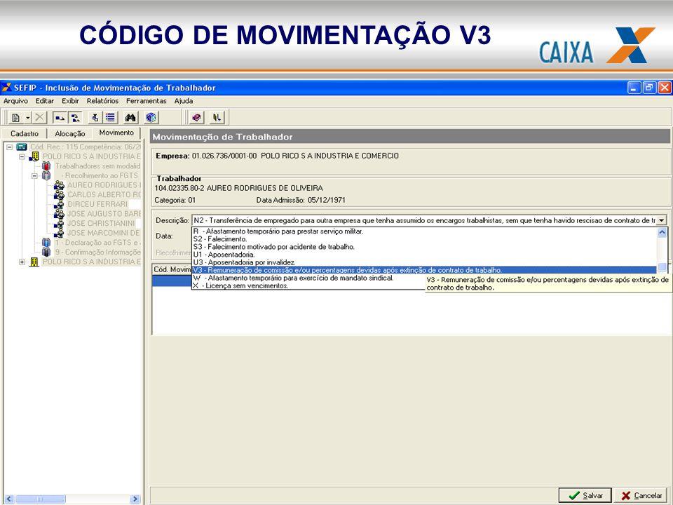 CÓDIGO DE MOVIMENTAÇÃO V3