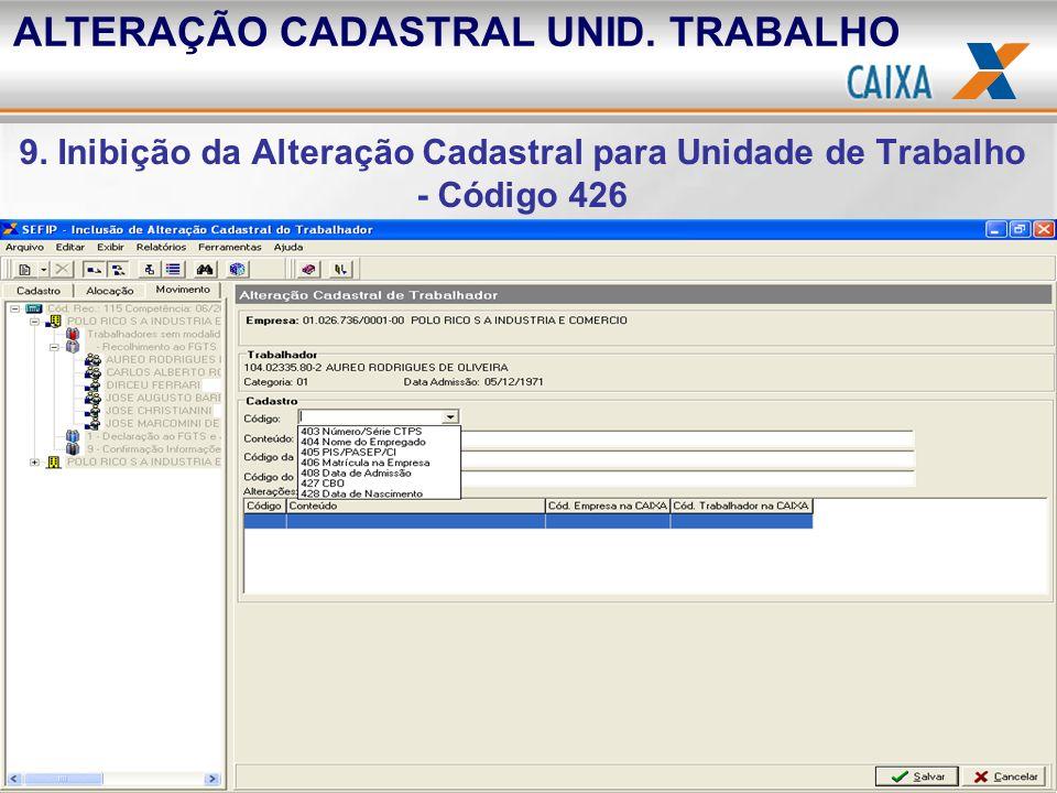 ALTERAÇÃO CADASTRAL UNID. TRABALHO