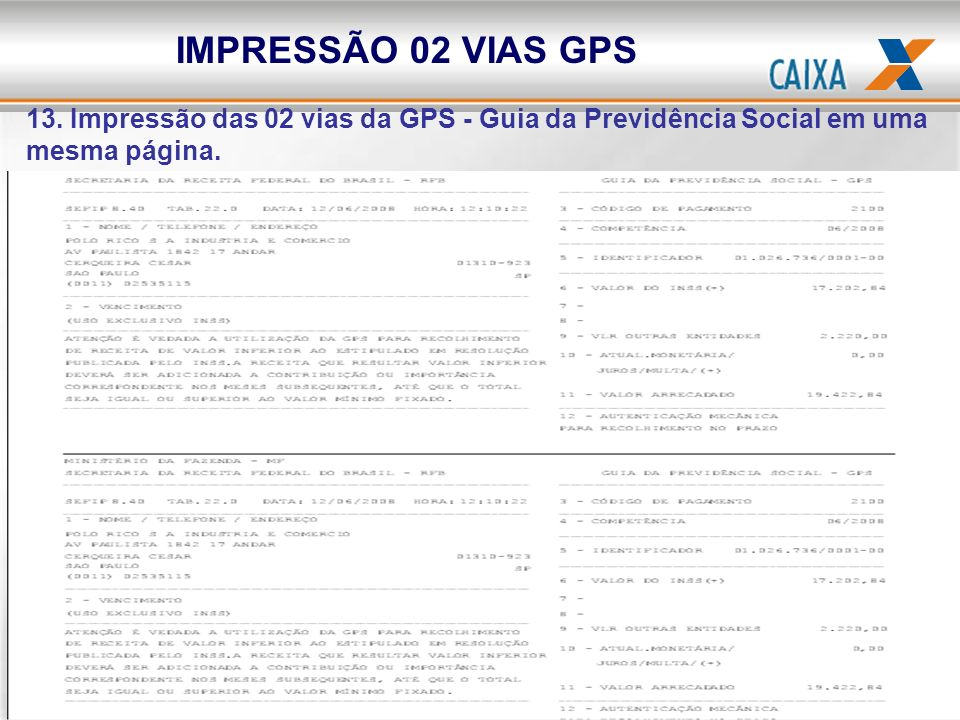 IMPRESSÃO 02 VIAS GPS 13.