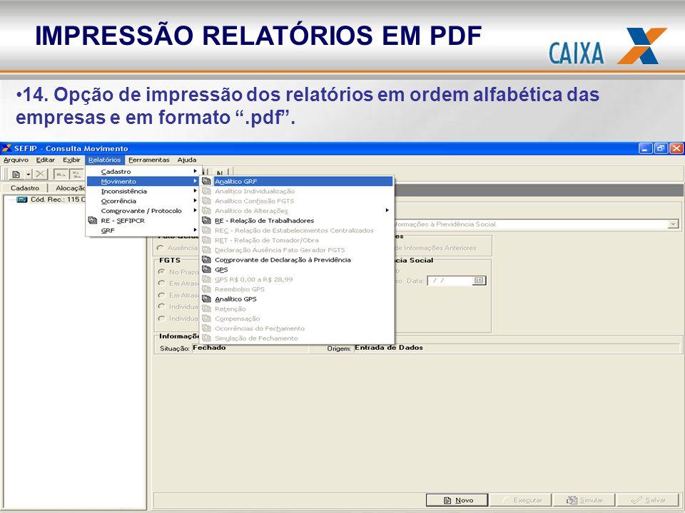 IMPRESSÃO RELATÓRIOS EM PDF
