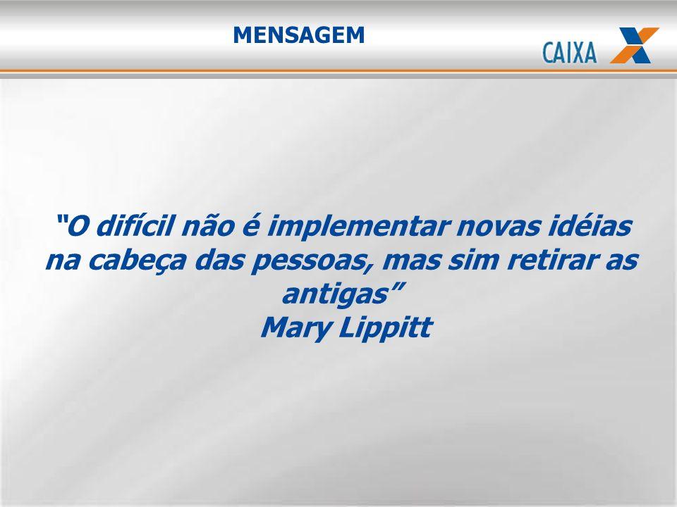MENSAGEM O difícil não é implementar novas idéias na cabeça das pessoas, mas sim retirar as antigas Mary Lippitt.
