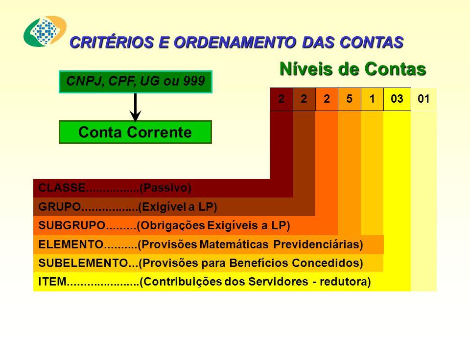 Níveis de Contas CRITÉRIOS E ORDENAMENTO DAS CONTAS Conta Corrente