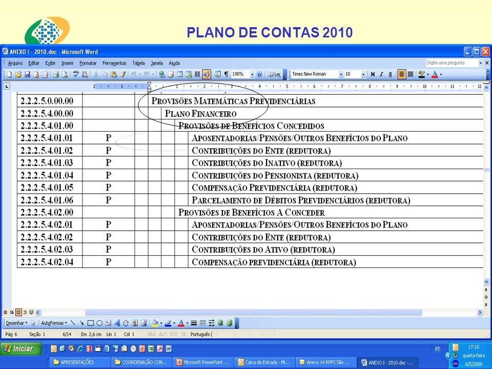 PLANO DE CONTAS 2010